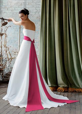 White Wedding Dress With Hot Pink Sash - Flower Girl Dresses